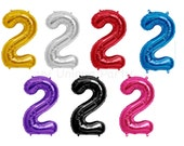 """Number 2 Balloon Mylar 34"""" Number Balloon Pink, Blue, Gold, Silver, Red, Purple or Black Helium Quality Balloon 2nd Birthday Photo Prop"""