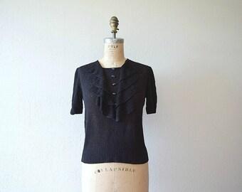 1930s knit top . vintage 30s black crochet blouse