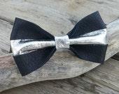 Black Bow Tie, Silver Bow Tie, Mens Bow Tie, Handmade Bow Ties, Wedding Ties, Metallic Bow Tie, Groomsmen Bow Ties, Unique Bow Ties, Ties