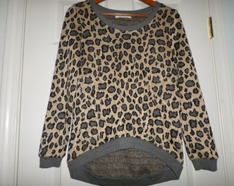 90s Blouse Top Leopard Print Brown Gray Light Sweater Tunic Top  Long Sleeve Animal Print Small 34