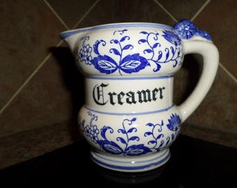 "Vintage Creamer 5"" tall made in japan Blue Onion Porecelain Retro Mid Century"