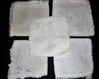 Vintage White or Ivory Lace Trimmed Linen Handkerchiefs All 5 Just 6 USD