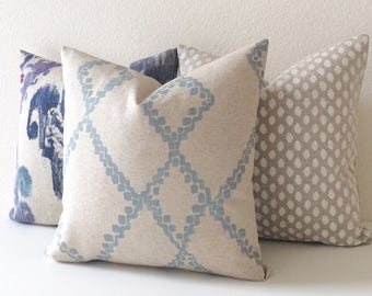 Light Blue and Oatmeal Tan Moroccan Geometric Diamond Ikat Decorative Pillow Cover