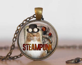 Steampunk cat art pendant necklace with rolo style chain necklace, altered art image, art pendant, cat jewelry, spring fashion