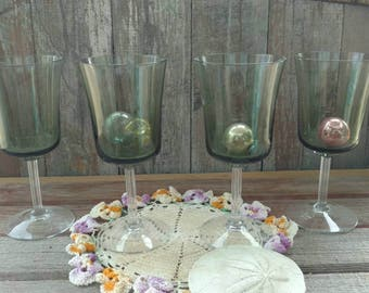 Retro Smoky Wine Glasses - 4 Vintage Crystal Green Smoke Glass Wine Goblets, Smoky Green Glasses, Mid Century Barware, Vintage Wedding Gift