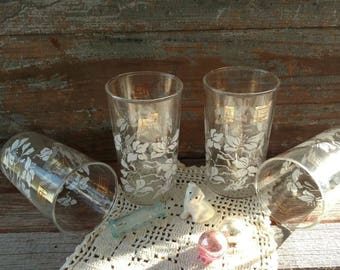 Mid Century Fancy White + Gold Barware Set - Vintage Clear Glass / Gold Hollywood Regency Glasses, Drinking Glasses, Retro Drinking Tumblers