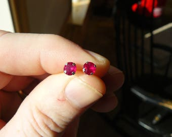New 1.75ct  14kt White Gold Round Ruby Earrings