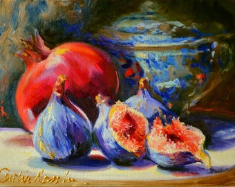 DRIE VYTJIES, art print, Figs, delft, blue procelain, oil on canvas, gift for mom,gift for her, Christmas Gift