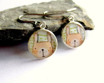 Cute Rabbit Earrings, Bunny Earrings, Rabbit Jewelry, Drop Earrings, Picture Earrings, Resin Jewelry, Quirky Gift for Her, Surgical Steel