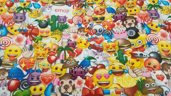All the emoji cotton fabric by david textiles by the yard for Emoji material by the yard