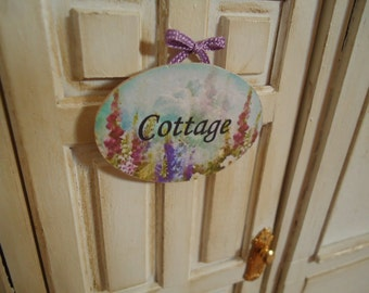 "Picture. Sign for shop. ""Cottage"". Miniature for dollhouse at 1/12 scale"