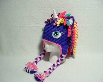 Amazing Unicorn Hat Bright Purple Rainbow hair any Size any Color