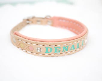 Lined Custom Small Leather Pet Collar with Name and Bling