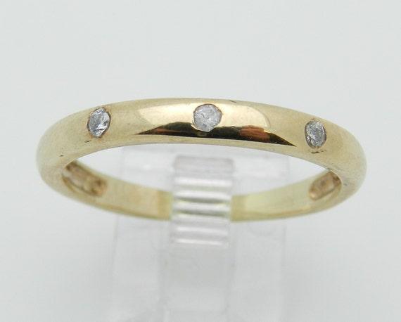 Mens Yellow Gold Diamond Wedding Ring Three Stone Anniversary Band Size 11.25