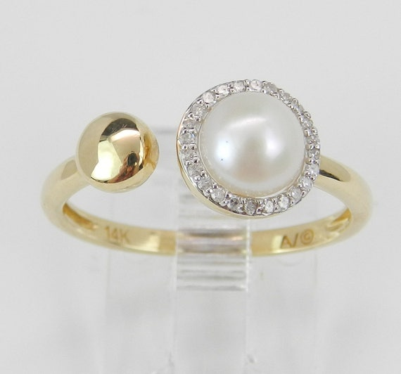 Pearl and Diamond Halo Midi Ring 14K Yellow Gold Unique June Birthstone Size 7.25