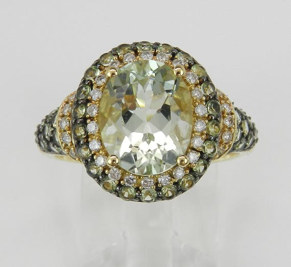 Green Amethyst and Diamond Halo Engagement Ring Yellow Gold Fashion Ring Size 7