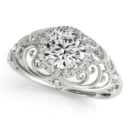 14K Gold Antique Style Halo Diamond Engagement Ring Setting Semi-Mount