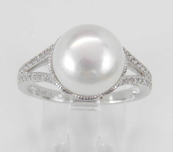 Pearl and Diamond Engagement Promise Ring 14K White Gold June Birthstone Size 7