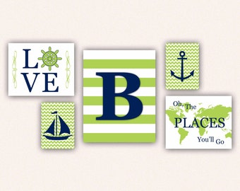 Nautical Monogram Nursery Print Set - Navy and Lime Anchor, Sail Boat, Love, World Map, Oh the Places You'll Go on Chevrons, Stripes (5001)