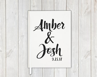Black and White Brush Scipt Wedding Guest Book with Bride and Groom, Date - Personalized Traditional Guestbook, Journal, Album
