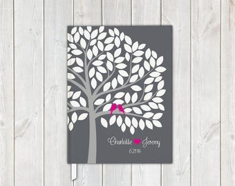 Love Birds in Tree Wedding Guest Book in Gray and Hot Pink - Personalized Traditional Guestbook, Journal, Album