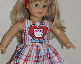 Hello Kitty dress and headband for 18 inch doll