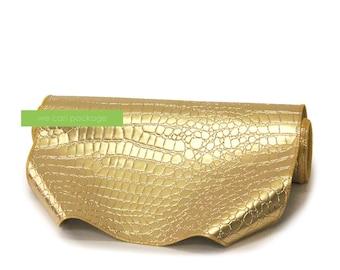 "SALE! Gold Crocodile Table Runner - 14"" x 108"""