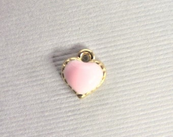 8mm*5mm*2mm Enamel Pink Heart Charms, 25CT. Y55