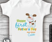 1st Father's Day Shirt or Bodysuit - Boy Puppy Personalized First Father's Day Shirt - First Father's Day Gift from baby