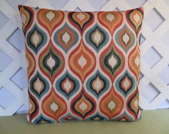 Geometric Pillow Cover in Orange Blue Yellow Green Cream / Orange Blue Pillow / Accent Pillow / Home Decor Pillow / 18 x 18 Pillow