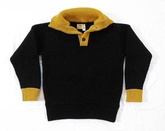 Vintage Wild Ram Woolens Virgin Wool Knit Foldover Collar Sweater Men's L 42