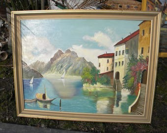 good shape large vintage 1950s or so artist signed f STEIGLER MEDITERRANEAN oil PAINTING on board
