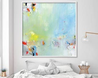 """ABSTRACT GICLEE of large print up to 40x40"""", modern Painting, Nursery Abstract Art, Acrylic Painting, aqua, yellow"""