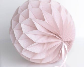 Dusty pink paper honeycomb ball - various sizes - pompoms party decorations- dusty rose/ dusky pink/ dusty blush/baby bridal shower