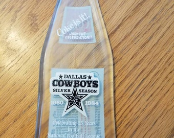 DALLAS COWBOYS 1984 Commemorative 25 years Coca Cola Bottle melted flat to hang on the wall