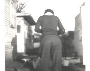 "Vintage Snapshot ""Focus"" Woman Photographer Taking Picture Rear Back View Found Vernacular Photo"
