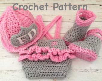 CROCHET PATTERN, Newborn Size, Baby Girl Firefighter Fireman Hat, Ruffled Diaper Cover, Suspenders & Boots
