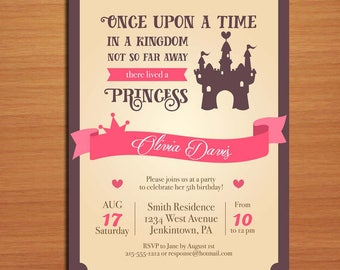 Princess Castle Birthday / Customized Printable Childrens' Birthday Party Invitation Cards DIY
