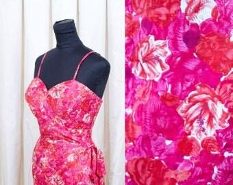 SPRING SALE 1950's Dress // Hawaiian Hibiscus Floral Print Sarong Bombshell Wiggle Dress by Nani of Hawaii