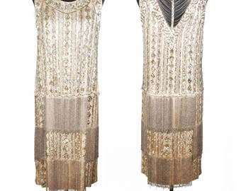 1920s Dress // Beaded Sequin and Rhinestone Encrusted Fringe Art Deco Flapper Dress