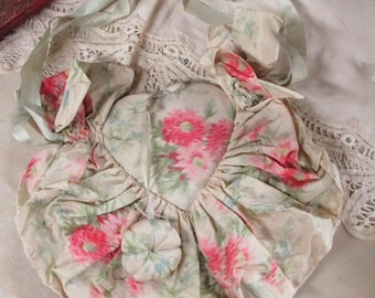 Antique French Watered Silk Roses Sewing Bag Pin Cushion Ivory Needle Shabby Chic RARE