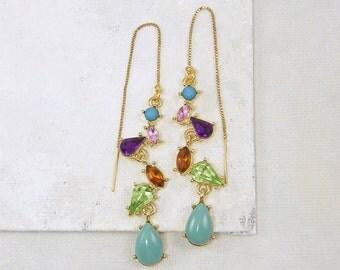 Gemstone Threader Earrings, Pull Through Earrings, Gold Threader Earrings, Gold Chain Threader Earrings, Ear Threads Colorful  EC2-22