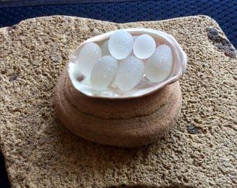 White Eggs Abalone Heal Genuine Sea Glass Stacker S-A23-3