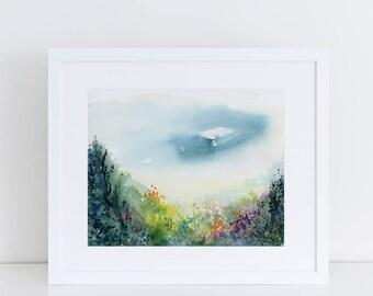 Watercolor Print, Landscape Art Print, Fine Art, Modern Art, Ink, Minimalist, Nature, Trees, Mountain