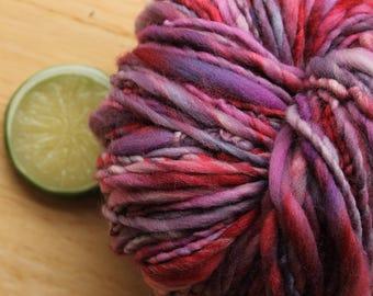 Mixed Berry - Handspun Purple Pink Yarn Wool Heavy Worsted Weight