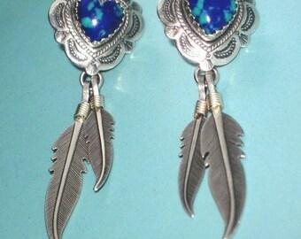 """Vintage Sterling Silver 925 AZURITE HEART FEATHER 2"""" Drop Dangle PostPierced Earrings Southwest signed"""