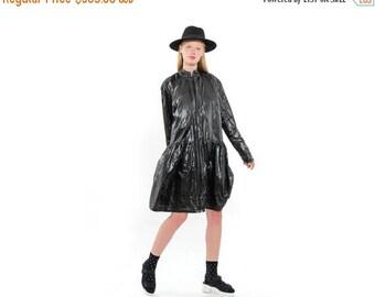 Cool Lightweight BLACK Rain-Coat, Oversized Fashionable Coat with Pleats, Everyday Coat with pockets, BLACK coat