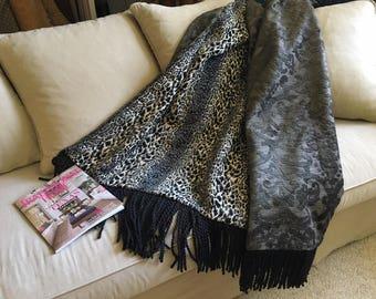 Black Gray Animal Print Throw Blanket, Jungle Bedding Cheetah Leopard, Custom Bespoke Luxurious Tapestry, Fathers Day Gift, Throw Rug OOAK
