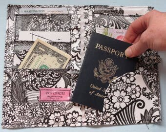 Black Oilcloth, Travel, Passport, Money, Pocket, Organize, Abroad, Train, Plane, Ship, New York, Paris