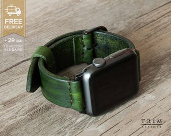 Apple Watch Band Leather Watch Bands Minimal in Forest Green Color 42mm 38mm Series 1 and 2 [Handmade] [Custom Colors]